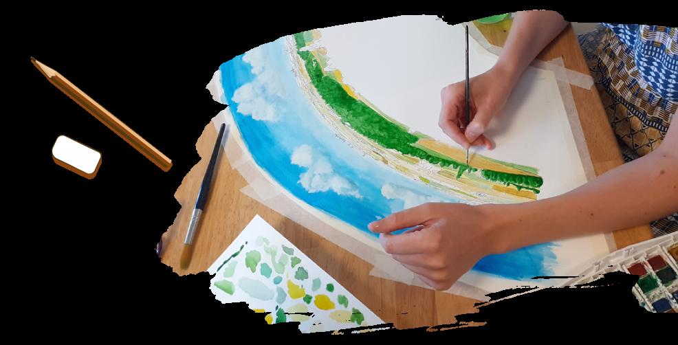 AD production graphiste illustratrice aquarelle peinture illustration table orientation point de vue création graphique naturaliste pao mise en page panneaux touristiques information