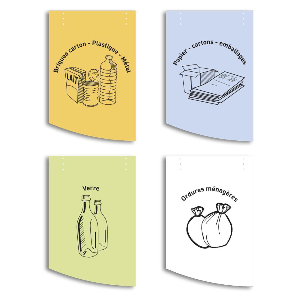 4 modèles de couvercle en compact gravé pour corbeille poitevine AD production, poubelle double en bois