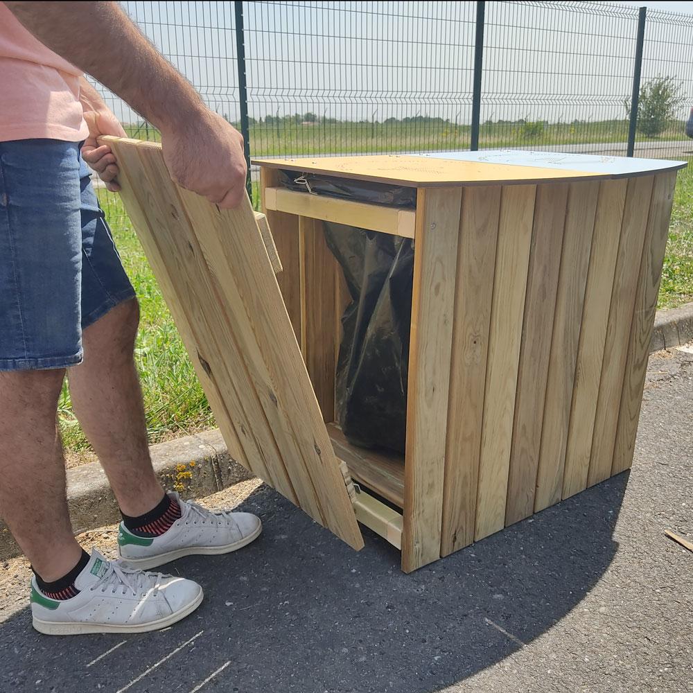 corbeille poitevine AD production poubelle double en bois ouverture latérale