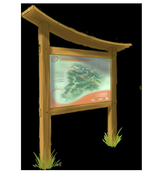 Panneau d'information touristique AD production planimètre RIS sentier pédagogique parcours d'interprétation panneaux touristiques