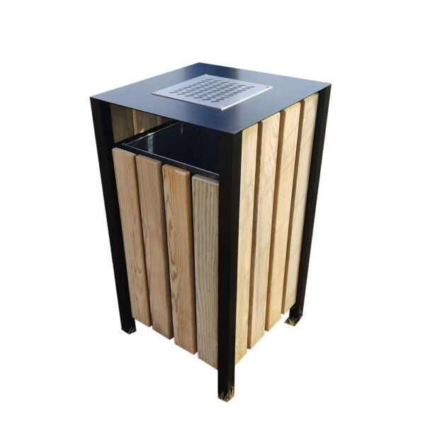 corbeille poubelle urbaine bois métal cendrier mobilier urbain