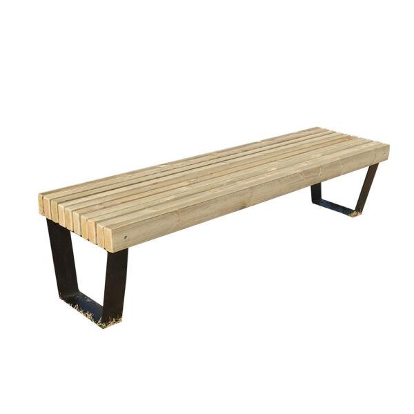 banc banquette urbaine mobilier urbain design bois métal acier noir