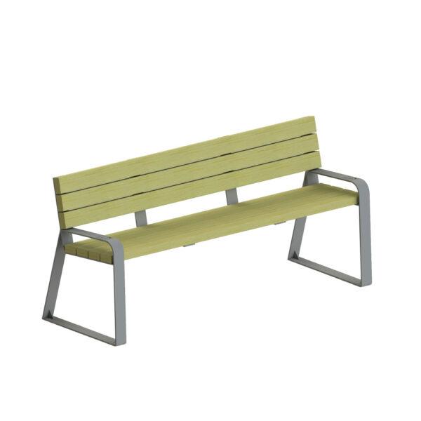 banc urbain senior bois metal acier mobilier urbain moderne accessibilité