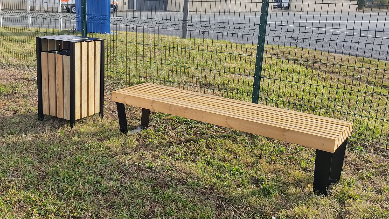 nouveaux produits mobilier urbain banc poubelle corbeille bois métal moderne